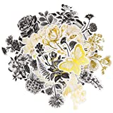 Knaid Botanical Large Gold Foil Stickers Set (120 Pieces) - Flower and Leaves Washi Sticker for Scrapbooking, Kid DIY Arts Crafts, Album, Bullet Journaling, Planners, Calendars and Notebook