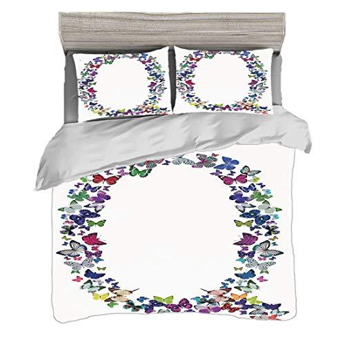 Bettwäscheset (200 x 200 cm) mit 2 Kissenbezügen Buchstabe Q Digitaldruck Bettwäsche Frühlings-Natur inspirierte Schriftart-Design-Mädchen-Kindernamen-Initialen-spielerische Wanzen-Flügel, mehrfarbig