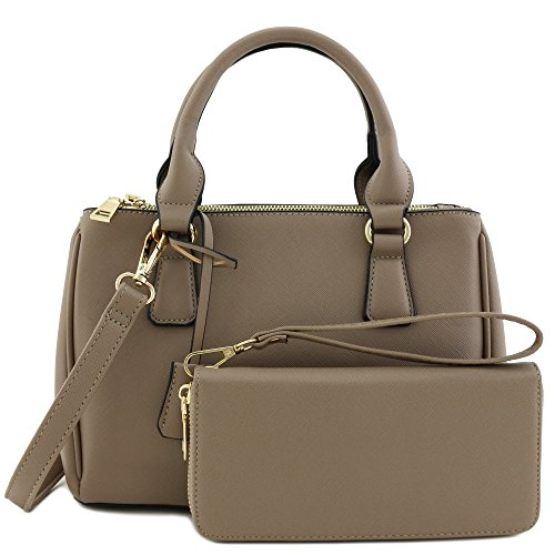 2pcs Set Classic Triple Zip Top Handle Small Satchel Bag with Zip Around Wallet Stone