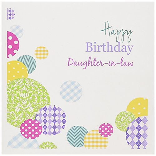Happy Birthday Daughter-in-law - colorful dots on white - Greeting Card, 6 x 6 inches, single (gc_165133_5)
