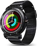 Hngyanp Pantalla Redonda Color Ajustes del Reloj K88H Plus, Hombres Mujeres, Sleep & Blood Oxygen Monitor de presión de Calorías/Contador de Paso, for Android e iOS (Color : Black)