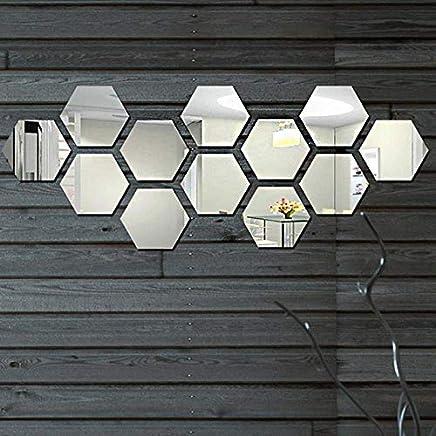 Art 3D Silver Acrylic Mirror Wall Sticker Home Decor DIY Kitchen Living Room TV Background Decoration 12pcs