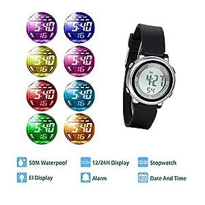 Reloj Digital LED para Niños, 5ATM Impermeable, Reloj Pequeño LED Multi Funciones, Pusera de Silicona, Color Caramelo, Regalo Original, Avaner
