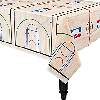 Amscan Sports and Tailgating Spalding Party Basketball Plastic Table Cover (2 Pack), Blue/Red, 54 inches x 96 inches