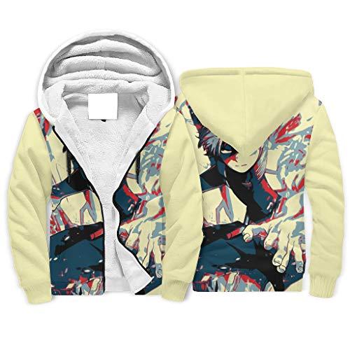 LIFOOST Todoroki - Sudadera con capucha para hombre, diseo nico, con cremallera, color blanco