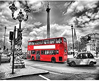 HYF Wallpaper Wallpaper Mural HD Black and White Street View Red Bus Background Decorative Wall 3D Wallpaper,300 * 210Cm