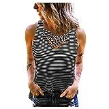 Camiseta sin mangas para mujer, de verano, informal, con estampado cruzado Negro XL