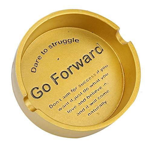 Yisenda Cenicero Artesanal, cenicero de Resina Antideslizante Antideslizante, Duradero para Hombres, decoración del hogar(GO Forward Gold)