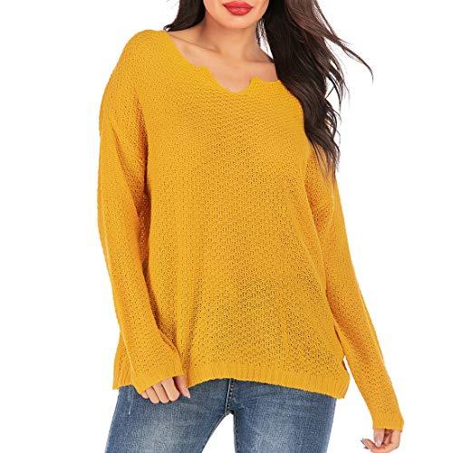 ZHUQI Bluse Damen Pullover Damen Casual Komfort Elegant Schlank Einfachheit Stricken Damen Tops Herbst Neues Sexy Mode Lässig Urlaub Dünnes Damen Pullover C-Yellow M