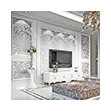 3D Damask Wallpaper, Modern Non-Woven Silver Flower Pattern Wallpaper Home Decor Wallpaper for Home Living Room Bedroom Indoor and TV Background, Need Glue and Wallpaper Powder