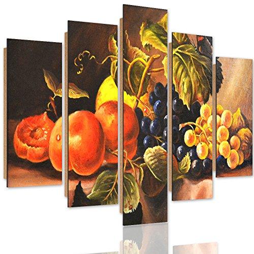 Feeby. Quadro multipannello - 5 Pannelli - Immagine da Parete Arte murale Stampata Stampa Artistica Moderno Deco Panel, 5 Parti, Tipo A, 150x100 cm, Quadro, Natura Morta, Mele, UVA, Rosso, Verde