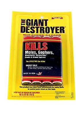 Atlas Giant Destroyer 00333 Gas Bomb - Gopher, Mole and Rat Killer - Pack of 2 4packs (8 total)