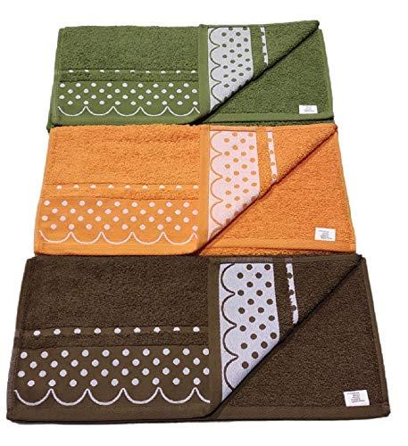 Toallas Lavabo algodón portugués 450/500g Set 3 Piezas variadas Lisa de Lunares 50_x_100 cm.