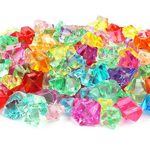 BELLE VOUS Acryl Edelsteine (300 STK) - Diamanten Dekosteine Bunt Streudeko EIS Kristalle Plastik Glitzersteine fur Vasen, Tischdeko, Party Mitgebsel, Hochzeit, Deko, Basteln, Kinder