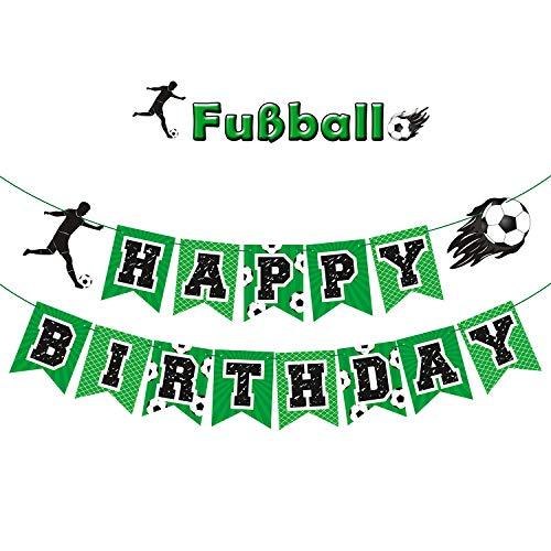 Rhdekoein Fußball Deko Geburtstag Bundesliga Happy Birthday Banner Fußball Party Zubehör Kindergeburtstag Banner 2 Stück für Kindern Jungen Fußball Party