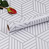 Hode Rouleau de papier peint autocollant pour meubles, rayures argentées hexagonales géométriques, rouleau de film vinyle pour étagère murale, tiroir 45 cm x 300 cm