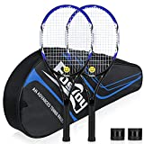 Fostoy Adult Recreational Tennis Racket, 27 inch Tennis Racquet with Carry Bag, Professional Tennis Racket, Good Control Grip, Vibration Damper (Blue)