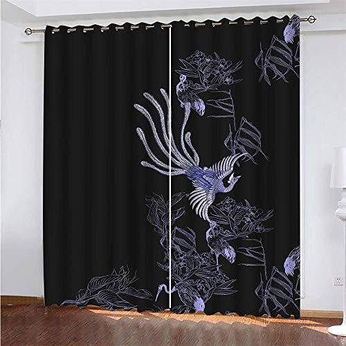 YUNSW Black 3D Digital Printing Polyester Fiber Curtains, Garden Living Room Kitchen Bedroom Blackout Curtains, Perforated Curtains 2 Piece Set