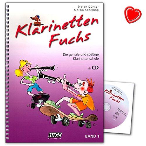 Klarinetten Fuchs Band 1 - Klarinettenschule für Anfänger mit CD und herzförmiger Notenklammer