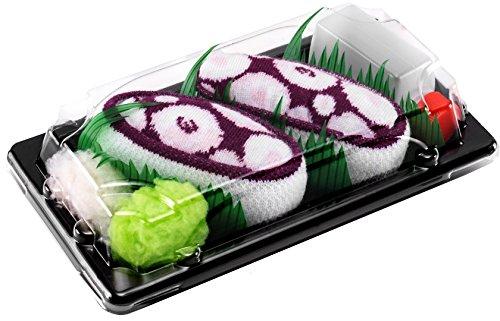 Rainbow Socks - Damen Herren - Sushi Socken Tintenfisch Violett - Lustige Geschenk - 1 Paar - Größen 41-46