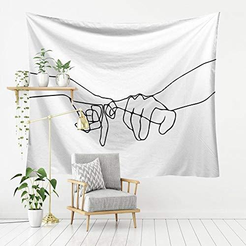 afbaby Tapiz de Dibujo de línea Colgante Decoración de Pared Picnic Cloth Lover s Hippie Tapices Mujeres Rostro Cuerpo Impresión Tapiz @ 5-100x150cm