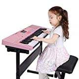 Hadwin Digital Piano Keyboard Kit, 61 Keys Electronic Music Keyboards with Piano Bench, Keyboard Stand, Headphone, Microphone, Music Stand and Note Stickers, Power/Battery Supply, Gifts for Girls Boys - Best Reviews Guide
