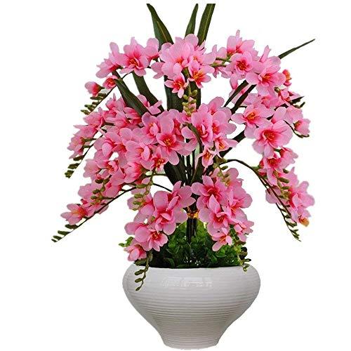 Jnseaol Kunstblumen Künstliche Blumen Orchidee Urlaub Geschenk Wohnzimmer Hochzeit Party Küche Nach Hause Eine Große Ornament Keramik Topf DIY Pink-20