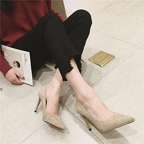 AJUNR Puerto de la luz de Punta Fina y 9cm los zapatos de tacón Alto zapatos de mujer Matt Salvaje Temperamento Moda Caqui Ocasional Elegante,Transpirable,Sandalias mujer