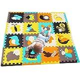 MQIAOHAM 16 stücke mit Langen rändern Baby weichen playmat schaumraum fußmatten für Kinder mädchen Yoga Teppich Play-Matte Baby Spielen Kinder edu Kind Tier Bunte infantino Puzzle Matte...
