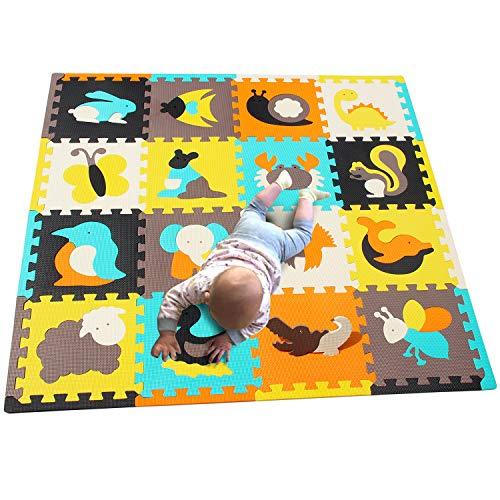 MQIAOHAM Foam Puzzle Alfombra de juego con bordes Kids Multi-Color Safe Baby Playground Soft Padded Floor Protection Alfombra de alta calidad EVA Foam Interlocking Tiles no tóxico P009B3010