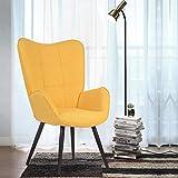 FURNISH 1 Sillón tapizado de Terciopelo de Tela Silla de Ocio Sofá Individual Escandinavia con Patas de Metal Negro 68 x 73 x 106 cm Amarillo