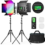 RGB Led Video Light with Remote Control, Pixel 2 Packs Photography Lighting Kit, 360° Full Color / 2600k-10000k / CRI 97+ for Portrait, Filming, video Recording, Youtube, Zoom, Streaming, Broadcasting