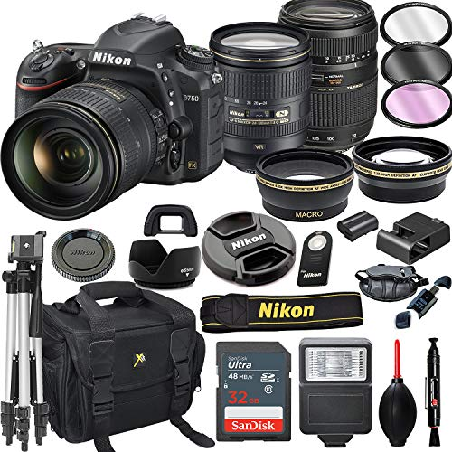 Nikon D750 DSLR Camera with 24-120mm VR + Tamron 70-300mm + 32GB Card, Tripod, Flash, and More (21pc Bundle)