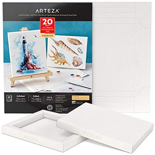 Arteza Watercolor Art Paper Foldable Canvas Pad, 7x8.6 Inches, 20 Sheets, DIY Frame, Acid-Free Heavyweight Paper Pad, 140lb/300 GSM, Art Supplies for Painting & Mixed Media Art