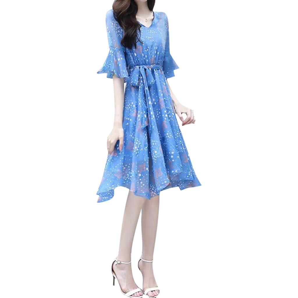 Available at Amazon: AgrinTol Women Chiffon Dress Floral Printed A-line Dress Slim V-Neck Short Sleeve Flare Sleeve Long Dress Plus Size Dress