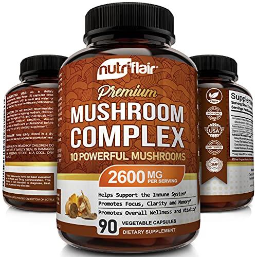 NutriFlair Mushroom Supplement 2600mg - 90 Capsules - 10 Mushrooms - Reishi  Lions Mane  Cordyceps  Chaga  Turkey Tail  Maitake  Shiitake Nootropic Complex - Brain  Energy  Focus