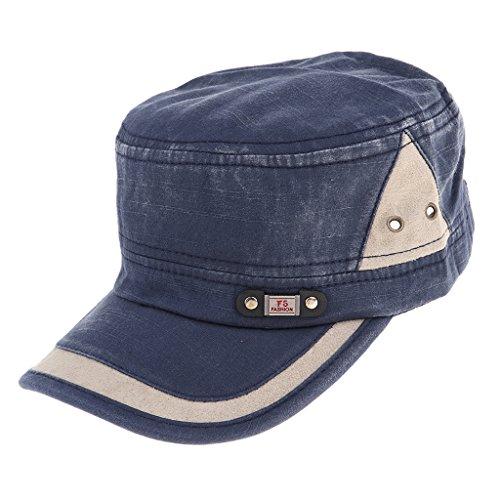 Boné vintage liso de algodão lavado, boné militar Cadet Army Bonés simples - estilo azul profundo 1, conforme descrito