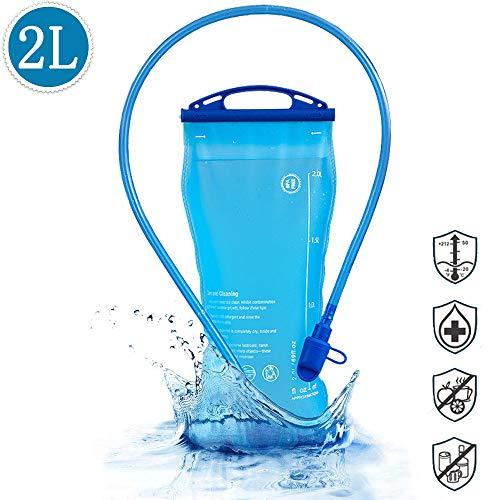 Amokee Trinkblase 2 Liter, Wasserblase mit Schlauch Wasserblase, Trinkflasche BPA-frei, Hydration Bladder, Sport Wasser Blasen antibakteriell und auslaufsicher Ideal für Outdoor-Radfahren, Camping