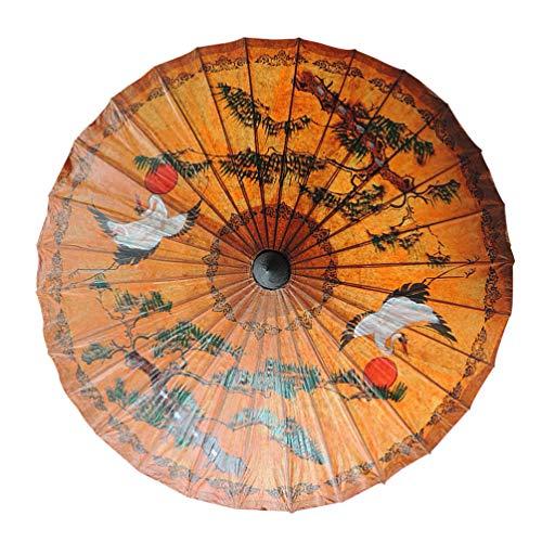 Vosarea ombrello di carta oleata cinese decorativo classico dipinto a mano artigianato ballando puntelli performance ombrello (gru coronata rossa)