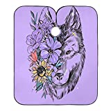Professional Salon Cape Purple Wolf Head Floral Sunflower Poppy Wisteria Nature Hair Stylist Barber Capes Clients Hair Cutting Cape Haircut Hairdresser Hairdressing Apron Shawl For Men Adult Women