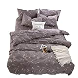 BuLuTu Bedding Constellation Print Twin Bedding Sets Cotton Reversible Space Kids Duvet Cover Sets Grey for Kids Adults Zipper Closure with Ties,Gift for Men,Women,Friends,Family,No Comforter