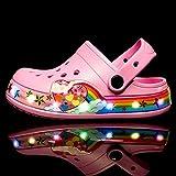 Kirin-1 Zapatillas De Verano De Mujer,Las Sandalias De Los NiñOs PequeñOs Los Zapatos De IluminacióN Led Macho Tienen Una Gran Variedad De Colores Y Destellos.-Rosa_28 Longitud De Zapato 17 Cm