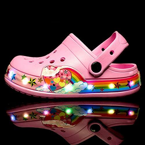 Chanclas Piscina NiñOs,Zapatos De Playa Hollow Led Shine Zapatos CumpleañOs, AccióN De Gracias, Halloween, Celebraciones De Navidad-Rosa_26 Zapatos Largos 5,5 Cm