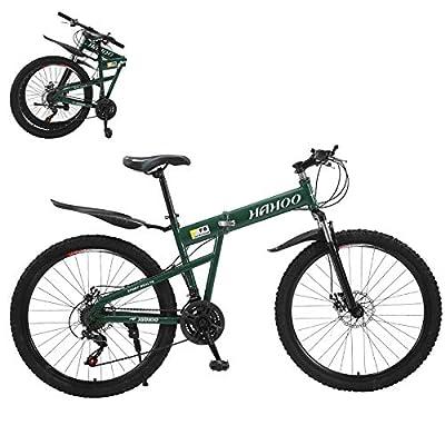 26 Inch Folding Mountain Bike Folding Bikes for Men Women QAY-6R 21 Speed Full Suspension Disc Brakes Cruiser Bicycles (Green-2)
