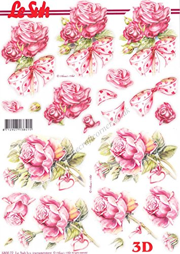 Pink Rose Flowers & Love Heart Ribbons Die Cut 3d Decoupage Sheet