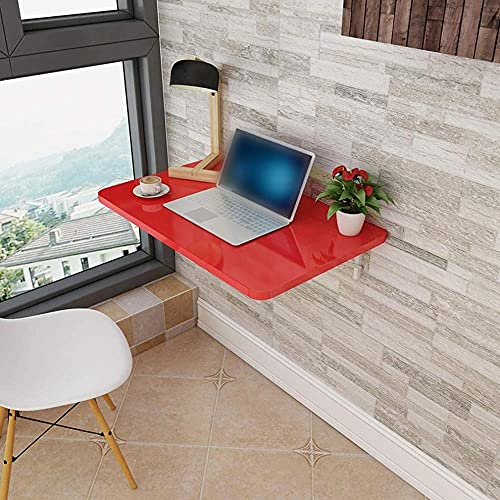 Mesa plegable plegable de madera flotante para estudios de escritorio multifunción para ordenador de mesa de comedor o cocina, 4 colores, 13 tamaños rojos, 50 x 30 cm