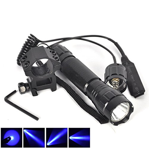 1 Set (1Pc) Inspiring Fashionable 600-LM Blue LED Flashlight Military Grade Rifle Gun Rail Coated Glass Lens Hunting Light Police Lights Colors Black with Mount and Pressure Switch