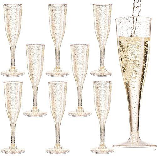 Cabina Home 30 Champagnerflöten aus Kunststoff, 5,5 oz, transparenter Kunststoff, Einwegbecher, Toast-Gläser, für Partys, Hochzeiten, Familie, Sammeln Rose Gold Glitter
