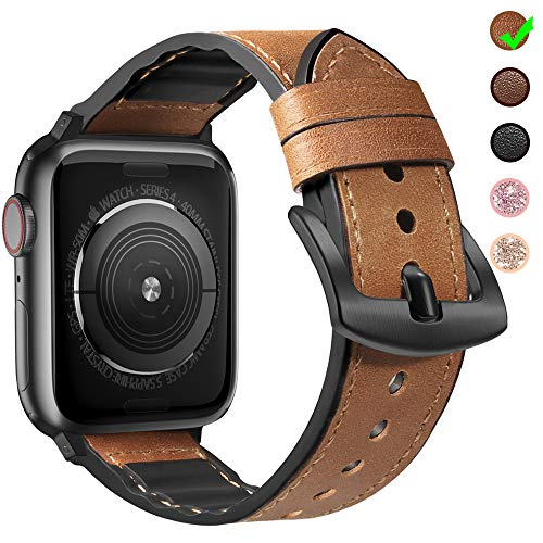 MARGE PLUS Compatible Apple Watch Band 44mm 42mm with Case, Sweatproof Hybrid Genuine Leather and Silicone Sports Watch Band Replacement for iWatch Series 5 4 3 2 1, Brown