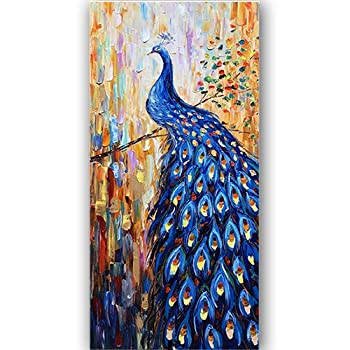 Dark Blue Peacock Canvas Wall Art Animal Bird Paintings 3D Textured Handmade Oil Paintings On Canvas Modern Home Decor Art Pictures Wall Decor for Living Room Hallway Stretched and Framed 24 x48